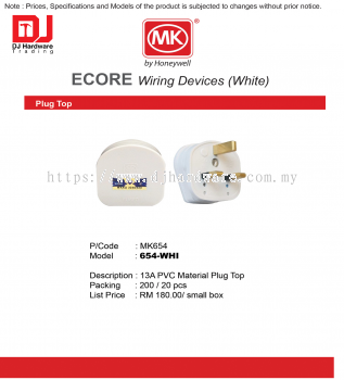 MK HONEYWELL ECORE WIRING DEVICES WHITE PLUG TOP MK654 13A PVC MATERIAL PLUG TOP 654-WHI (CL)