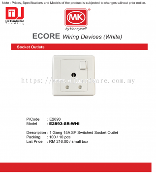 MK HONEYWELL ECORE WIRING DEVICES WHITE SOCKET OUTLETS E2893 1 GANG 15A SP SWITCHED OUTLET E2893-SR-WHI (CL)