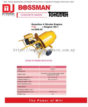 BOSSMAN CONCRETE MIXER GASOLINE 4 STROKE ENGINE OIL TKCM 3T MIXER WITH EY20 (CL)