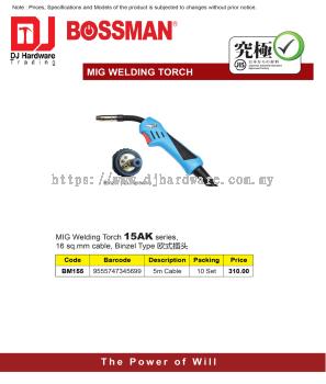 BOSSMAN MIG WELDING TORCH 15AK SERIES 16SQ MM CABLE BINZEL TYPE 5M CABLE BM155 9555747345699 (CL)