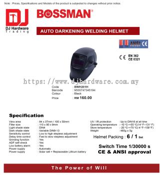 BOSSMAN AUTO DARKENING WELDING HELMET BWH201H BLACK 9555747345194 (CL)