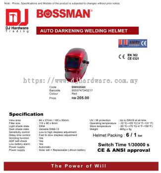 BOSSMAN AUTO DARKENING WELDING HELMET BWH204H RED 9555747345217 (CL)