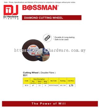 BOSSMAN CUTTING WHEEL DOUBLE FIBRE BCF4 4'' X 2.0MM X 16MM 9555747340250 (CL)