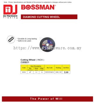 BOSSMAN CUTTING WHEEL INOX BCS4 4'' X 1.2MM X 16MM 9555747340311 (CL)