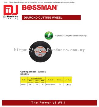 BOSSMAN CUTTING WHEEL SPEED BCFT14 14'' X 3.0MM X 16MM 9555747340328 (CL)