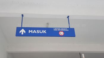 Carpark alluminium box hanging sign