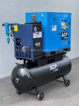 ( 5 In 1 ) 10.0HP ��ACP�� DIRECT DRIVE ROTARY SCREW AIR COMPRESSOR C/W REFRIGERATED AIR DRYER, PRE-FILTER AND AFTER FILTER ON 300L HORIZONTAL AIR RECEIVER TANK, MODEL : RS 10A - P/300/D