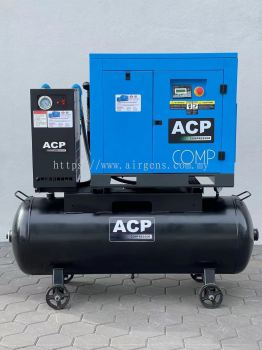 (5 in 1) 15HP ��ACP�� DIRECT DRIVE ROTARY SCREW AIR COMPRESSOR C/W REFRIGERATED AIR DRYER AND PRE-FILTER AND AFTER FILTER ON 400L HORIZONTAL AIR RECEIVER TANK, MODEL : RS 15A - P/400/D