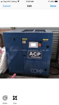 """(5 in 1) 15HP """"ACP"""" PERMANENT MAGNET INVERTER ROTARY SCREW AIR COMPRESSOR C/W REFRIGERATED AIR DRYER, PRE-FILTER AND AFTER FILTER ON 400L HORIZONTAL AIR RECEIVER TANK, MODEL : RS15E-P/400/D"""