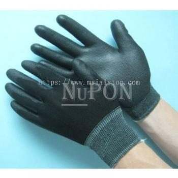 Black Nylon PU Black Palm Coated Gloves