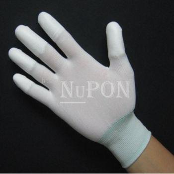 White Nylon PU Fingertips Coated Gloves