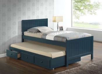 SINGLE WOODEN CAPTAIN BED W/ UNDER BED DRAWER - BLUE