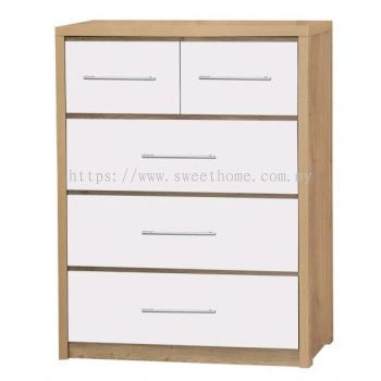 Design Series Chest Of Drawer - 5 DRAWERS CHEST WITH HIGH GLOSS WHITE - OAK