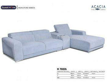 Signature Series L shape Acacia Fabrics Sofa with Cup Holder