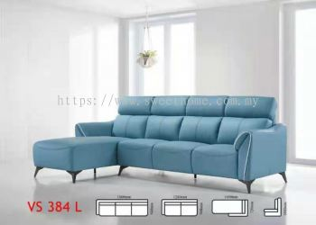 Super Leather L Shape Sofa Online- Fabrics and Super Leather BLUE