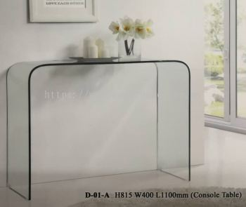 Full Transparent Glass Console Table
