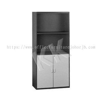 Light Grey & Dark Grey Office High Open Shelf with Swing Door Cabinet