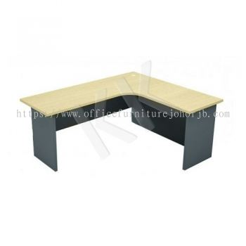 Maple & Dark Grey L-Shaped Office Table 1800W