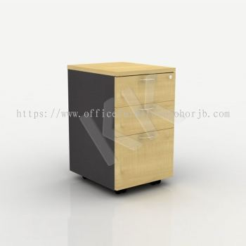 Maple & Dark Grey Office 2 Drawer 1 Filing Mobile Pedestal