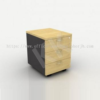 Maple & Dark Grey Office 3 Drawer Mobile Pedestal