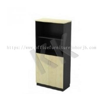 Maple & Dark Grey Office High Open Shelf with Swing Door Cabinet