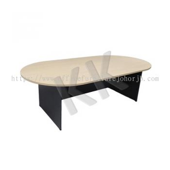 Maple & Dark Grey Oval Conference Table 1800W