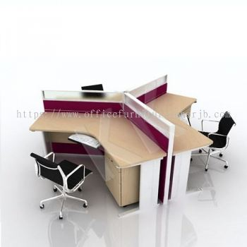 3 Seater Fabric Partition Office Workstation