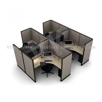 4 Seater Fabric Partition Office Workstation Concept 1