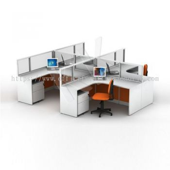 4 Seater Fabric Partition Office Workstation Concept 3