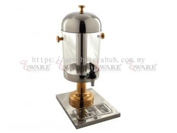 SINGLE STAINLESS STEEL JUICE DISPENSER WITH GOLD PLATED LED AND KNOB