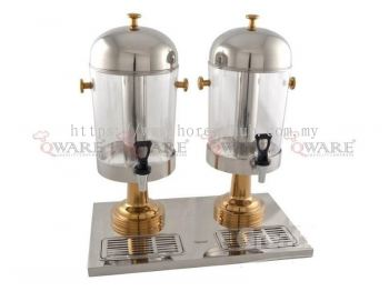DOUBLE STAINLESS STEEL JUICE DISPENSER WITH GOLD PLATED LEG AND KNOB