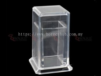 ACRYLIC SQUARE SHAPE TOOTHPICK BOTTLE WITH COVER
