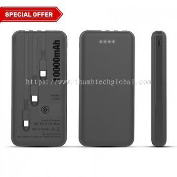 F-223 POWERBANK WITH 3 BUILT IN CABLE - 10000mAh