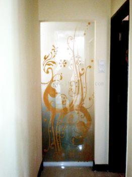 Door Glass Sandblasted