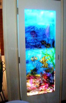 Frame Sandblasted Glass Door