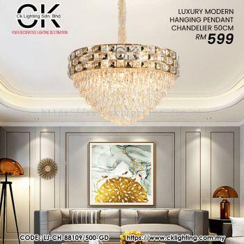 CK LIGHTING LUXURY MODERN HANGING PENDANT CHANDELIER (LJ-CH-88109/500-GD)