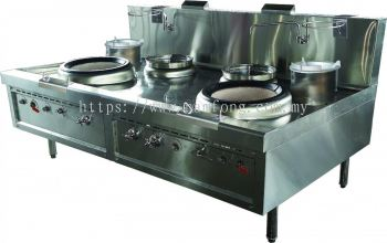 Chinese 2 Ring Air Blast C/W 2 Rear Pot Ext 2 Burner