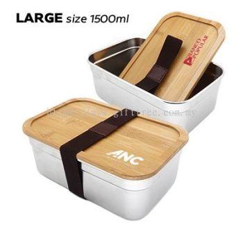 Bamboo SUS304 Lunch Box - LB 139 (1.5L & 1.0L)