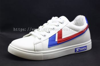 Men Round-Top Flat Classic Sneakers-TFM-302 - WHITE/ BLUE/ RED Colour