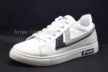 Men Round-Top Flat Classic Sneakers-TFM-302- WHITE/BLACK Colour