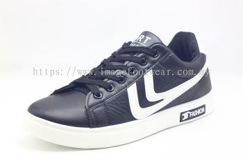 Men Round-Top Flat Classic Sneakers-TFM-307- BLACK/WHITE Colour
