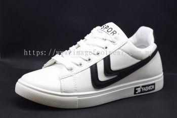 Men Round-Top Flat Classic Sneakers-TFM-307- WHITE/BLACK Colour