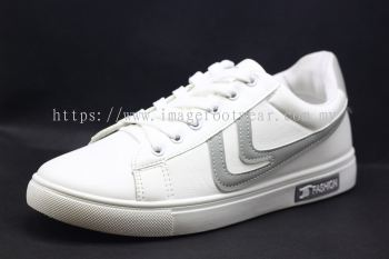 Men Round-Top Flat Classic Sneakers-TFM-307- WHITE/GREY Colour