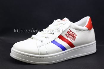 Men Round-Top Flat Classic Sneakers-TFM-197 WHITE/ BLUE/ RED Colour