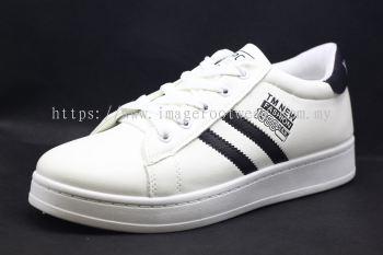 Men Round-Top Flat Classic Sneakers-TFM-197- WHITE/BLACK Colour