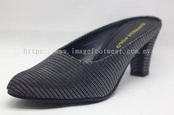 Ladies 2 inch Heel Half Slip shoe- TF-6012- GLITTER BLACK Colour