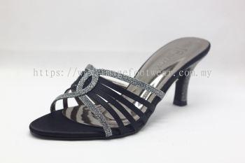 Elegant Lady Fashion Slipper with 2 Inch Heel - TF-1773-1- BLACK Colour