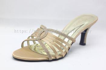 Elegant Lady Fashion Slipper with 2 Inch Heel - TF-1773-1- GOLD Colour