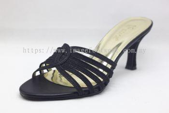 Elegant Lady Fashion Slipper with 2 Inch Heel - TF-1773- BLACK Colour