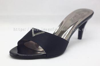 Elegant Lady Fashion Slipper with 2 Inch Heel - TF-1866- BLACK Colour
